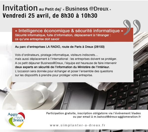 Prochain Business@Dreux : « Intelligence économique & sécurité informatique »