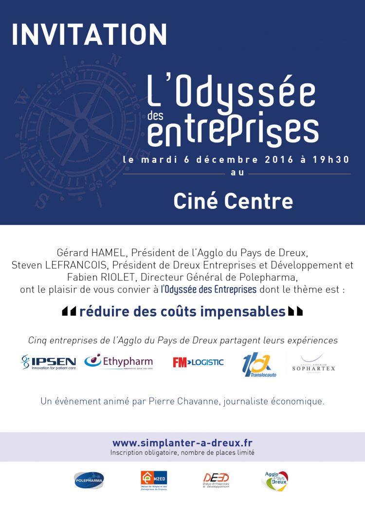 l'Odyssée des entreprises sur le thème : « réduire des coûts impensables » le 6 décembre à 19h30